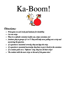 Kaboom Multiplication Facts Game