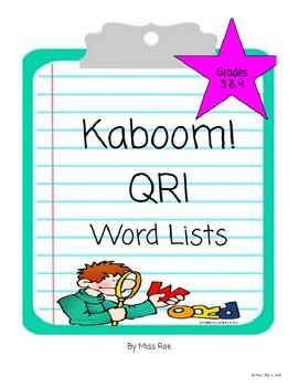 QRI Reading Sight Word Activity Kaboom Game * Grades 3 & 4