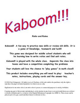 Kaboom!!! Ratios and Unit Rates