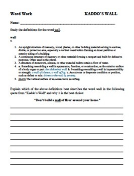 Worksheets Short Story Questions kaddos wall short story questions writing by vocabulary activity