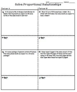Solving Proportional Relationships Worksheet - Kagan Inspired