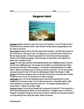 Kangaroo Island Australia - Review Article questions activities