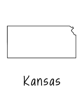 Kansas Map Coloring Page Activity - Lots of Room for Note-