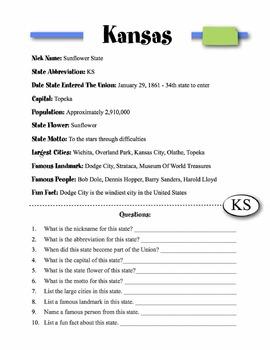 Kansas State Information & Worksheet