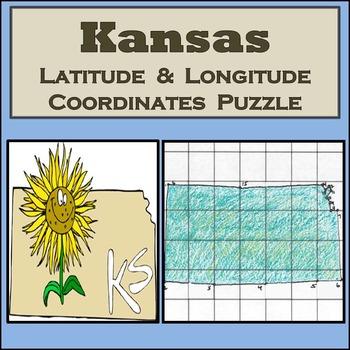 Kansas State Latitude and Longitude Coordinates Puzzle - 1