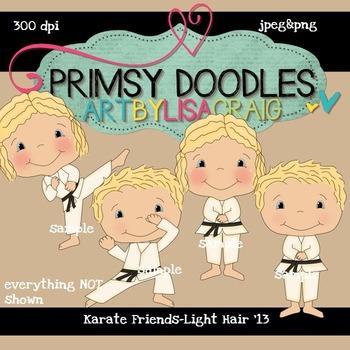 Karate Friends-Light Hair 300 dpi Clipart