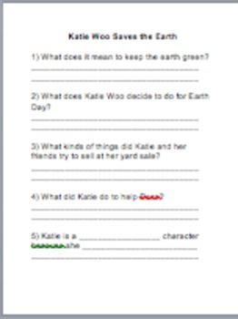 Katie Woo Saves the Earth Comprehension Questions