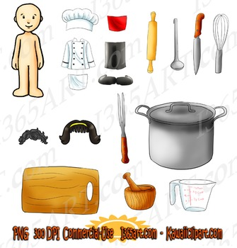 Kawaii Dress-Up Time - Kitchen Culinary Cooking Clipart Pack