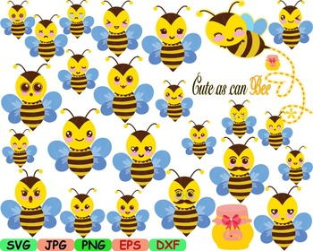 Kawaii Faces BEE Clip Art animal Party happy smile sweet b