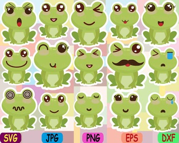 Kawaii Faces Frog Clip Art animal Party happy smile sweet