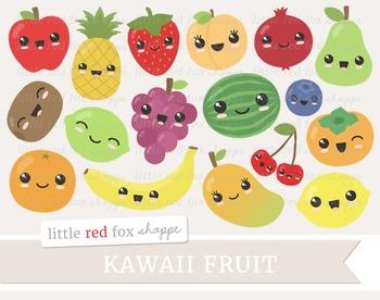 Kawaii Fruit Clipart; Apple, Pear, Peach