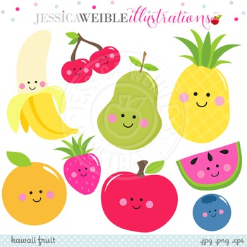 Kawaii Fruit Cute Digital Clipart, Smiling Fruit Clip Art