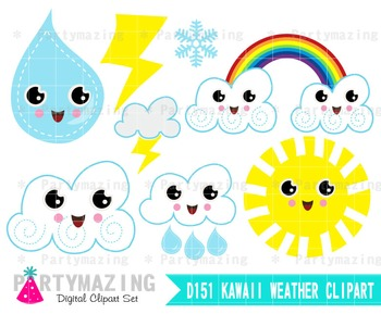 Kawaii Weather Clipart Set, Weather Report, Clipart Planner D151