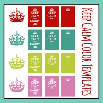 Keep Calm Meme Poster in Color Templates Clip Art Set for