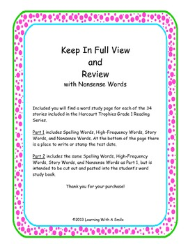 Harcourt Trophies FIRST GRADE Study Guide- Includes Nonsen