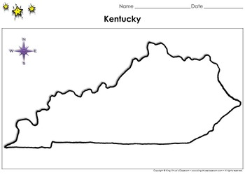 Kentucky Map - Blank - Full Page - Virginia's Bordering St