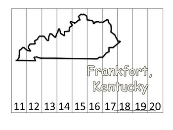 Kentucky State Capitol Number Sequence Puzzle 11-20.  Geog