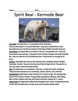 Kermode Spirit Bear - Lesson Review Article Questions Fact