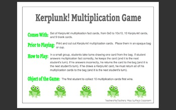 Kerplunk! Multiplication Game!