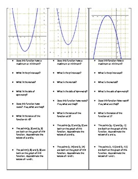 Key Features of Parabolas Practice