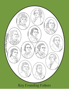 12 Key Founding Fathers Bundle Clip Art, Coloring Pages, a