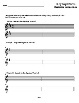 Key Signature Packet, Beginning Composition Series
