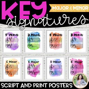 Key Signature Posters {Or Giant Flash Cards: Watercolor Mu
