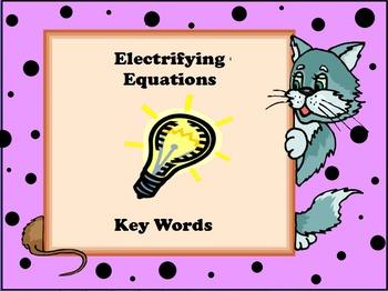 Key Words for Word Problems or Algebra Flip Chart