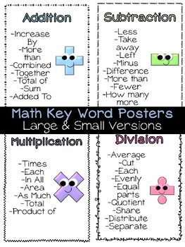 Key Words to Problem Solve ? Math Basic Operations Posters