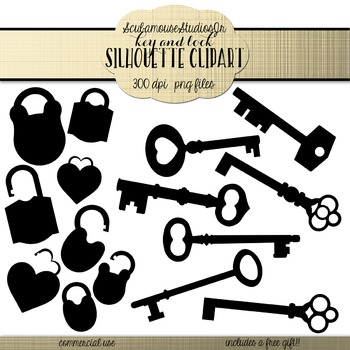 Key and Lock Silhouette Clipart, commercial use