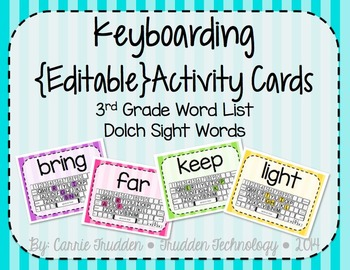 Keyboarding Activity Cards using Dolch 3rd Grade Word List