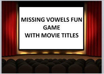 Keyboarding Games- Missing Vowels Fun Game with Movie Titl