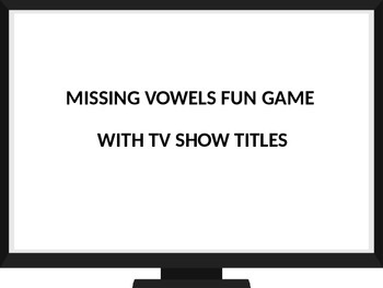 Keyboarding Games- Missing Vowels Fun Game with TV Show Ti