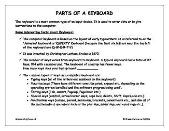 Keyboarding - Parts of a Keyboard