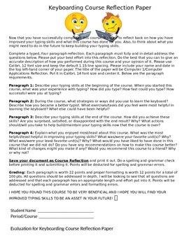 Keyboarding-Typing- Keyboarding Course Reflection Paper w/