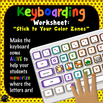 """Keyboarding Worksheet B (""""Stick to Your Color Zones"""")"""