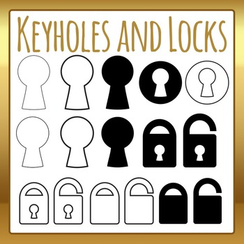 Keyholes and Locks Icons or Outlines Clip Art Set for Comm