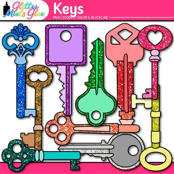 Keys Clip Art - Keyword Clip Art - Glitter Key Clip Art -