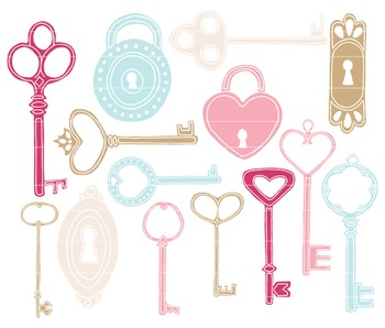 Keys & Locks, Antique Key Clip Art, Vintage Keys Clipart,