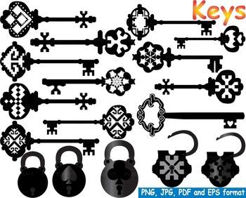 Keys Silhouette Clip Art Black Skeleton Vintage Retro Anti