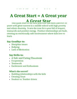 Keys to Great Start for A Great School Year