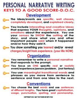 Keys to a Good Score Personal Narrative