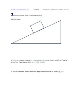 Khan Academy Friction & Incline Planes printable notes and
