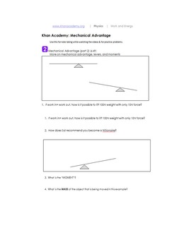 Khan Academy Mechanical Advantage printable notes and practice