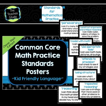 """Kid Friendly"" Math Practice Standards Posters ""Classic Black"""