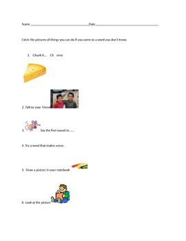 Kid Friendly Reading Strategy Assessment