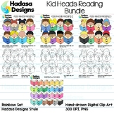 Kid Reading Heads Clip Art Set