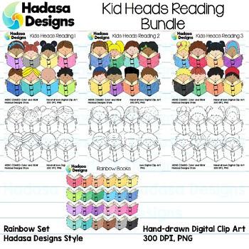 Kid Reading Heads Clip Art Set