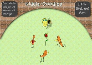 Kiddie-Doodles Childlike Birds and Bees Clip Art