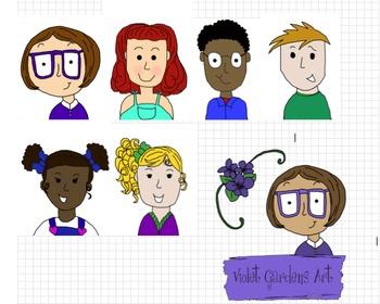 School Kids Clip Art by Violet Gardens Art